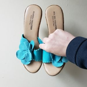 Cute blue floral cork style wedges